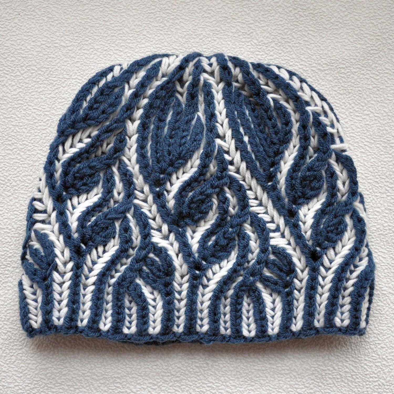 Knitting Pattern Brioche. Hat Brioche stitch. Scheme beanie in the ...