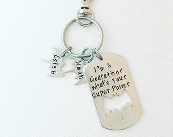 I'm a Godfather Personalized Custom Hand Stamped Superhero Key Chain with Personalized Bats - Bat Keychain - Dad Daddy Key Chain