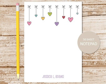 personalized notepad . hearts bows notepad . heart border note pad . personalized stationery . girls stationary