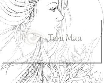 Beth – Digital Download Coloring Page, Adult Coloring, Relaxing, Digi Stamp, Printable, PDF file.