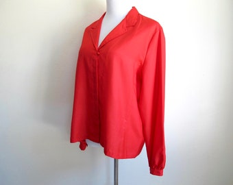 Vintage XL Red Blouse, 1970s Clothing
