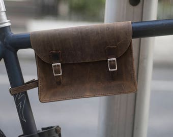 """Bicycle Frame Bag Handcrafted Natural Leather ANTIQUE BROWN 8.6""""x6.5""""x2"""" Handcrafted Leather"""