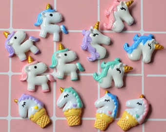 15pcs Mixed colors DIY decoration Cartoon flatback Kawaii Animal Decoden Resin Unicorn cabochon