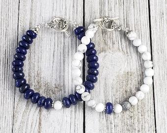 Lapis Lazuli Friendship Bracelets, Boho, Stone Bracelets, Beaded Bracelets, Boho Bracelets, Summer, Howlite Bracelets, Gifts For Her, White