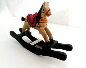 Vintage Miniature wooden Rocking Horse ornaments / Christmas / Miniature / holiday / figurine / white / red / black / Christmas tree