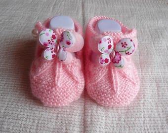 Baby wool sandalette pink butterfly shape