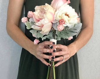 Shabby Chic Bridesmaid Bouquet - Faux Flowers