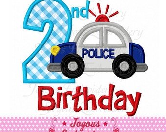 Instant Download 2nd Birthday Police car Applique Machine Embroidery Design NO:2018