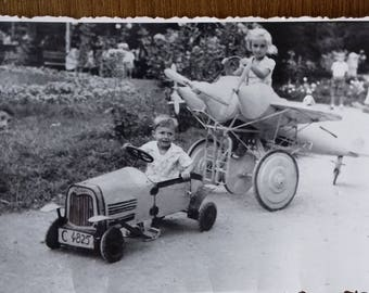 Vintage photo of little drivers/ children photo/playing photo/ car and aeroplane