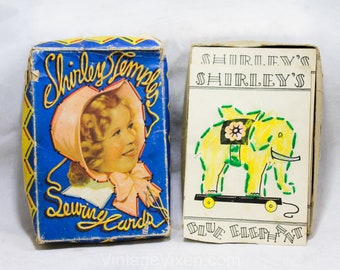 1930s Shirley Temple Sewing Cards - Authentic 30s Children's Toy - Learn To Sew Craft Card Set in Original Box - Copyright 1936 - R2145