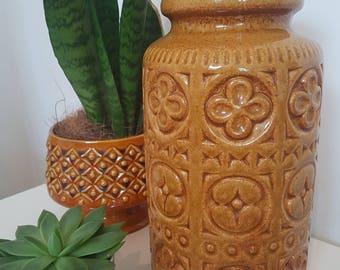 West German Mustard/Brown Lava Vase Scheurich 289-27 Design