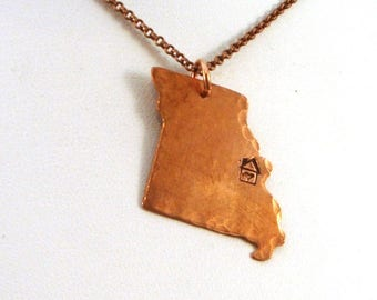 Missouri Necklace in Copper - Missouri State Necklace - Home is Where the Heart Is Necklace