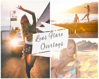 97 Lens Flare Photoshop Overlays, Sunlight, Overlays, Sun Flare, Portrait Overlays, Retro, Vintage, Instant Download