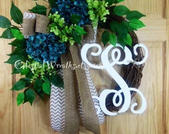 Blue hydrangea - spring wreath - Hydrangea wrearth - Monogram wreath - Grapevine wreath-housewarming-wedding