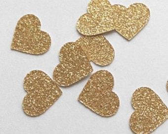 100 Pieces | Gold Confetti Hearts
