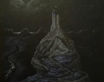 Castle by the Sea. Original acrylic painting by Zoe Adams.