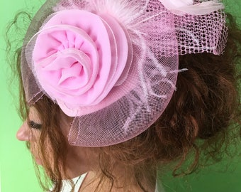 Pink Fascinator - Pink Wedding Fascinator Hat, Tea Party Hat - Kentucky Derby Hat - British Hat Fascinator Headband - Costume Hat