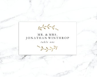 Printable Place Card Template, Wedding Place Cards, Seating Cards,  Printable Template |  Gold Leaves  | No. EDN 5100