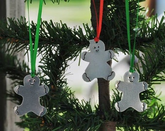 Personalized Hand Stamped Individual Gingerbread Boy or Girl Holiday Ornaments.