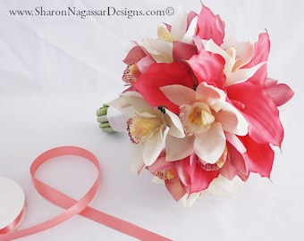 Pink/deep/hot/, whte/offwhite/ivory, bouquet set, Real Touch flowers, silk, wedding, flowers, calla lily, lilies, cymbidium, orchids