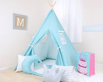 Mini Dot Coastal Blue / teepee for kids / kids teepee / children teepee / teepee tent / play teepee / toddler tent / play tent / kids tent