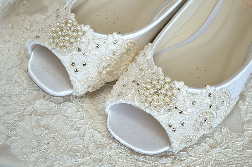 Description. This Lovely Peep Toe Bridal Shoe Is Covered With Lace ...