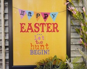Happy Easter egg hunt sign digital PDF - banner yellow chick uprint vintage art words primitive old 8 x 10 frame saying