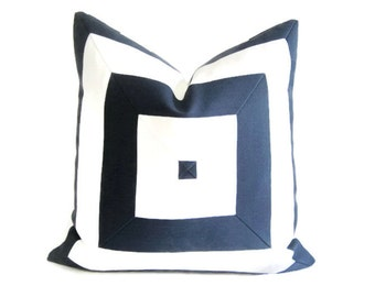 Pillow Cover Indoor Outdoor Mitered Navy Blue White Stripes