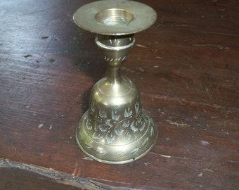 Vintage Brass Bell Candlestick Holder Comination Etched Handmade