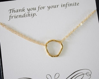 Gold Karma Necklace, Infinite necklace, Infinity Jewelry, Best friend Gift, Gold Filled Necklace, Karma, Textured Circles, Organic Circle