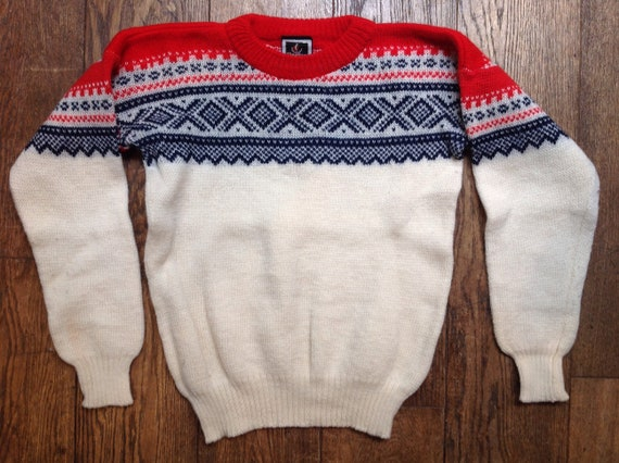 "Vintage 1980s Nesjar Norwegian red white blue knitted wool jumper sweater 42"" chest ski"