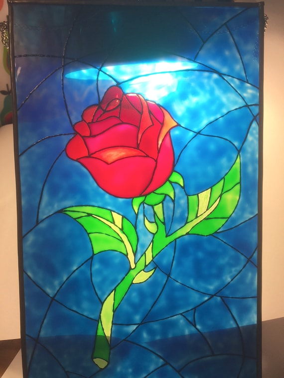 Beauty And The Beast Enchanted Rose Stained Glass Suncatcher