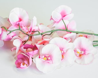 """2/3/6 Lg. 29"""" Phalaeopsis Orchid Stems Pink, Real Touch, Artificial Silk Craft Florals, Faux Wedding Flowers Centerpieces"""