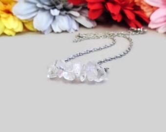 Quartz crystal bar necklace, clear quartz crystal choker, 7th (crown) chakra healing, bridal jewelry, naturally formed high quality quartz