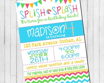 Pool Party Birthday Invitation | Pool Party Invitation | Beach Party | Digital Invitation