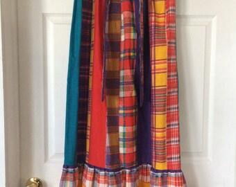 Patchwork Skirt Print Maxi Long Summer Granny Plaid Vintage 70s M