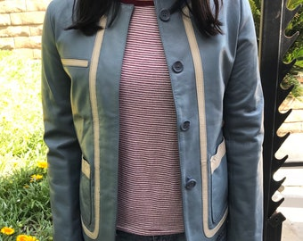 Vintage 90's Blue Leather Jacket with Cream Accent