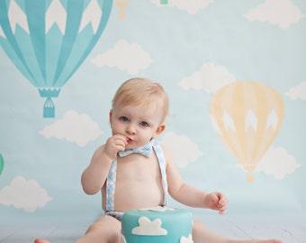 Hot air balloon first birthday, balloon birthday, boys cake smash outfit, toddler birthday outfit, bow tie suspender set, boy 1st birthday