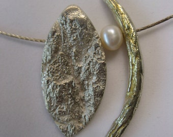 One-of-a-kind, unique, designed silver and 24k gold leaf pendant - gol 048