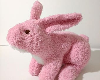 Rosie (the Rabbiter), a knitted bunny rabbit stuffed animal, pink and white plush toy, baby shower gift