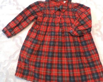 Vintage 2T Girl's Christmas Dress ~ Plaid  ~ Lands End Red and Green Plaid ~ Long Sleeve Corduroy Tartan Plaid