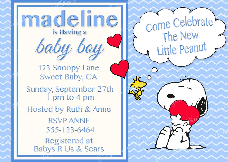 Snoopy Peanuts Baby Shower Invitation Digital Printable On Wedding ...