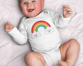 Rainbow and Clouds Infant Bodysuit (baby shower gift, Kawaii, rainbow, clouds, cute, rain, baby, happy, smile. gifts for baby, pride)