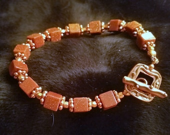 B2600 Goldstone and Copper Bracelet