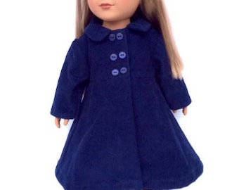Doll Clothes, Navy Blue Doll Coat, Corduroy Doll Coat, Winter Doll Clothes, fits 18 Inch Dolls