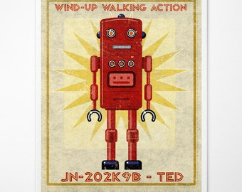 "Boys Room Decor, Retro Robot Art Print, Ted Box Art Robot Decor 8"" x 10"" Art for Kids Rooms or Robot Nursery Decor, Kid Bedroom"