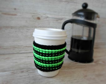Coffee Cosy, Green and black,  Coffee Sleeve, Takeaway hot drink sleeve thing
