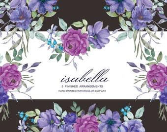 Purple & Violet Watercolor Arrangements Clipart Rose Clipart Hand Painted Bouquet Commercial Use   A25 Isabella