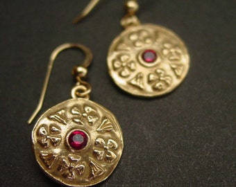 Byzantine Flowers (with garnets) - Earrings