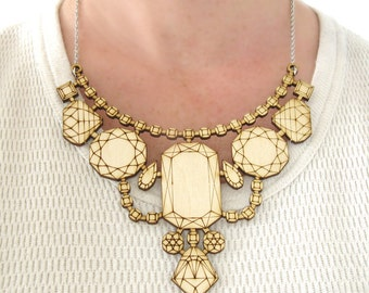 Wood Laser Cut Statement Necklace - Bib Engraved Geometric Jewels Jewelry